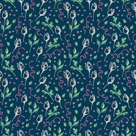 tenon: Seamless vector pattern, background with roses, branches and leaves on the blue backdrop. Hand sketch drawing. Imitation of ink pencilling. Series of Hand Drawn Patterns. Illustration