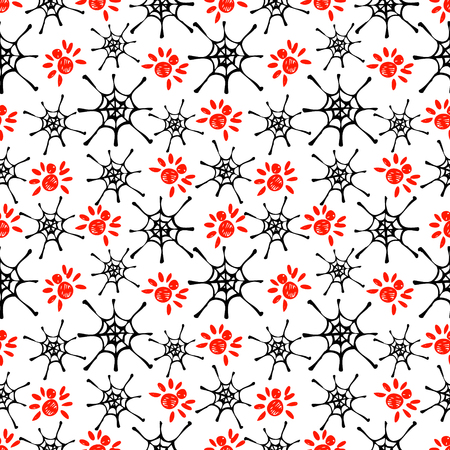 spider's web: Seamless vector pattern with insects, background with red spiders and black spiders web. Hand sketch drawing. Imitation of ink pencilling. Series of Insects and Hand Drawn Patterns. Illustration