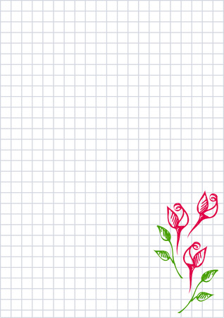 paper forms: Vector floral blank for letter or greeting card. Checkered paper, white squared form with hand drawn roses and leaves. Imitation of inc drawing.A4 format size. Series of Cards, Blanks and Forms. Illustration