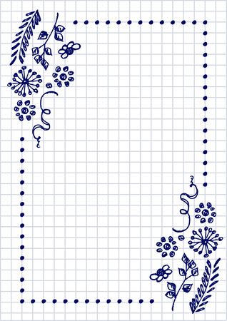 paper forms: Vector floral blank for letter or greeting card. Checkered paper, white squared form with hand drawn flowers and leaves. Imitation of inc drawing.A4 format size. Series of Cards, Blanks and Forms.