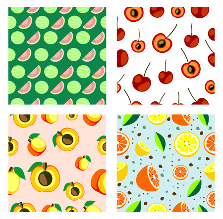 apricots: Set of vector seamless fruits patterns. Different bright backgrounds with cherries, watermelons, apricots, lemons and oranges. Series of Fruits and Sets of Patterns. Illustration