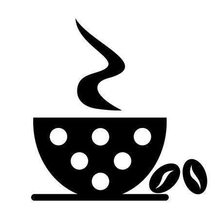 cofe: Vector black and white illustration of cup with coffee and grains, isolated on the white background. Series of Food and Drink Object, Icons and Illustrations. Illustration