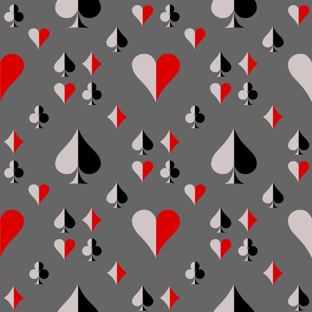 Seamless vector pattern with icons of playing cards. Black, red and grey repeating background. Series og Gaming and Gambling Seamless Patterns.