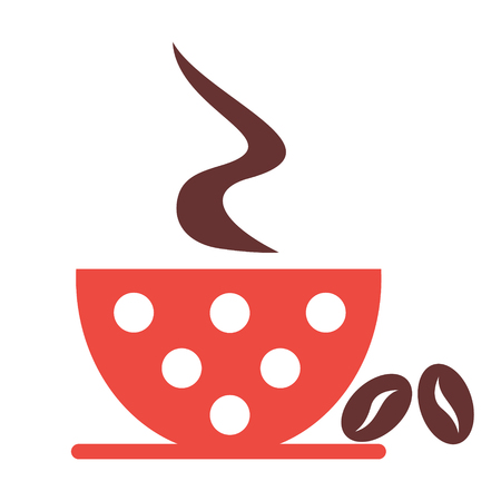 cofe: Vector illustration of red cup with coffee and grains, isolated on the white background. Series of Food and Drink Object, Icons and Illustrations.