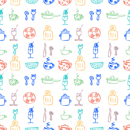 Seamless vector pattern. Colorful hand sketch drawn background with kitchenware. Series of Hand Drawn Seamless Patterns.