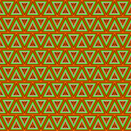 gree: Seamless vector pattern. Symmetrical geometric background with triangles in gree and orange colors . Decorative repeating ornament. Series of Geometric Ornamental Patterns.