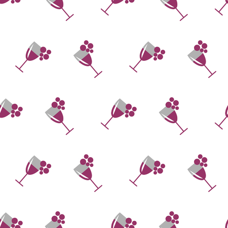 wineglasses: Seamless vector pattern with wineglasses with red wine and bunches of grape on the white background. Series of Food and Drink Seamless Patterns.