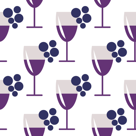 wineglasses: Seamless vector pattern with closeup wineglasses with red wine and bunches of grape on the white background. Series of Food and Drink Seamless Patterns.