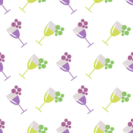 wineglasses: Seamless vector pattern with wineglasses with red and white wine, and bunches of grape on the grey background. Series of Food and Drink Seamless Patterns. Illustration