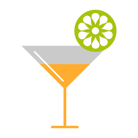 bahama: Vector  illustration of cocktail and lime, isolated on the white background. Series of Food and Drink Object, Icons and Illustrations.