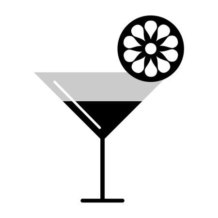 bahama: Vector black and white illustration of cocktail and citrus, isolated on the white background. Series of Food and Drink Object, Icons and Illustrations.