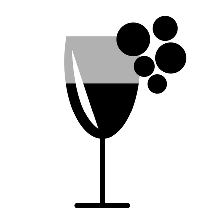 black grape: Vector black and white illustration of wineglass and grape, isolated on the white background. Series of Food and Drink Object, Icons and Illustrations.