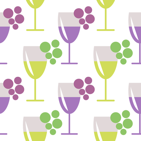 wineglasses: Seamless vector pattern with closeup wineglasses with red and white wine, and bunches of grape on the grey background. Series of Food and Drink Seamless Patterns.