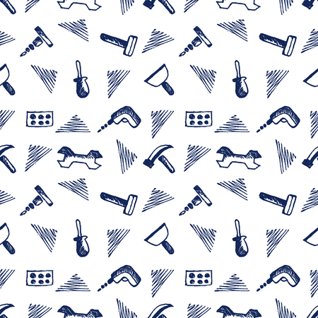 cartoon work: Seamless vector pattern with tools. Hand sketch drawn background with hammers, screws, nuts and wrenches on the white backdrop. Series of Hand Drawn Seamless Patterns.
