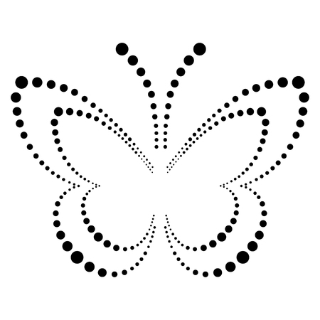 butterfly isolated: Vector illustration of insect, decorative butterfly with dots in black and white colors, isolated on the white background