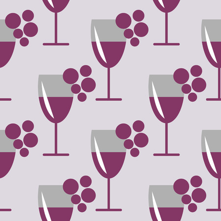 wineglasses: Seamless vector pattern with closeup wineglasses with red wine and bunches of grape on the grey background. Series of Food and Drink Seamless Patterns. Illustration
