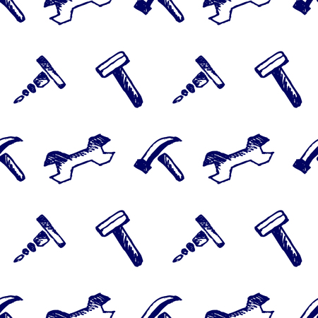 inc: Seamless vector pattern with tools. Hand sketch drawn background with hammers, screws, nuts and wrenches on the white backdrop. Imitation of inc pencilling. Series of Hand Drawn Seamless Patterns.