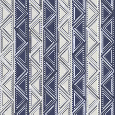 ethnical: Seamless vector geometric pattern. Blue and grey background with triangles in the shape of zigzag. Series of Decorative and Ornamental Seamless Patterns.