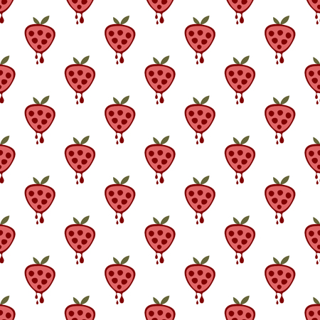 cartoom: Seamless vector pattern with fruits. Symmetrical background with strawberries on the white backdrop. Series of Fruits and Vegetables Seamless Patterns.