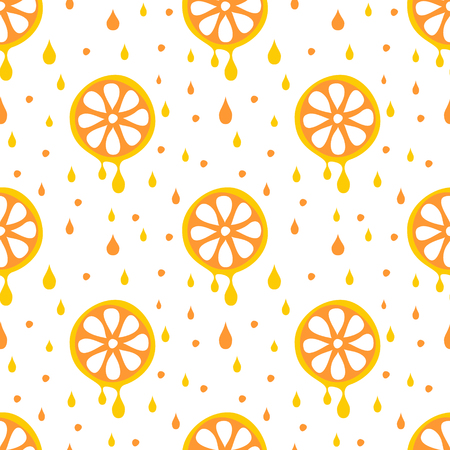 cartoom: Seamless vector pattern with fruits. Symmetrical background with oranges on the white backdrop. Series of Fruits and Vegetables Seamless Patterns. Illustration