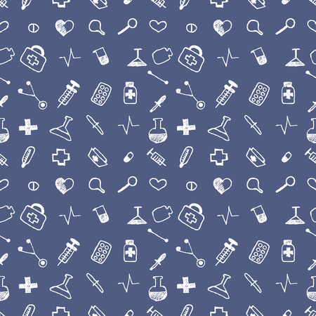 medical preparation: Seamless vector pattern medical tools and pills, white chaotic background with colorful pills, syringe, thermometer, bag, flask.Hand sketch drawing, Series of Medical and Hand Drawn Seamless Patterns.
