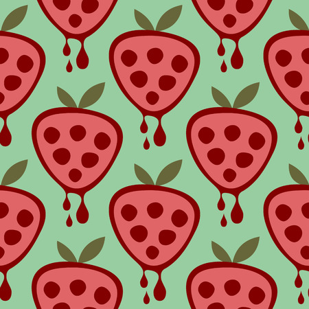 cartoom: Seamless vector pattern with fruits. Symmetrical background with strawberries on the green backdrop. Series of Fruits and Vegetables Seamless Patterns.