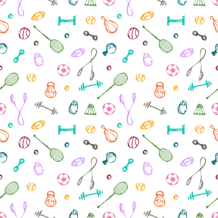 hand with dumbbells: Seamless vector pattern. Colorful background with sports equipment. Soccer ball, punching bag, gloves, barbells, dumbbells, racket, rope and weight. Hand sketch drawing. Series of Sporting Patterns