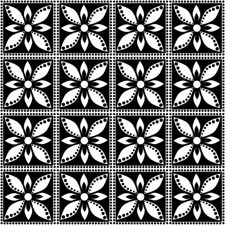 Seamless Vector Geometric Pattern With Flowers Black And White Impressive Free Vector Geometric Patterns