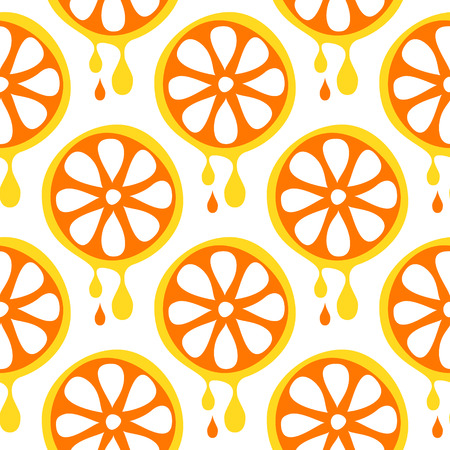 cartoom: Seamless vector pattern with fruits. Symmetrical background with closeup oranges on the white backdrop. Series of Fruits and Vegetables Seamless Patterns.