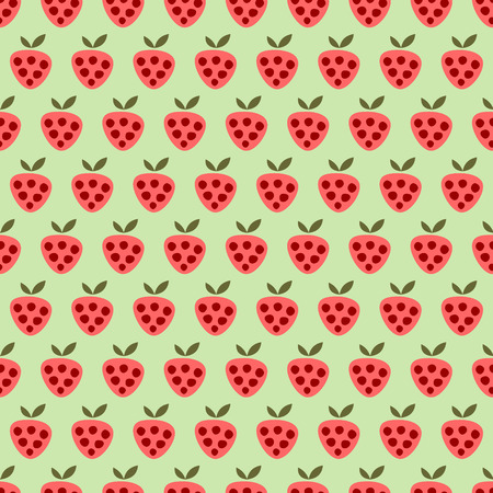 cartoom: Seamless vector pattern with fruits. Symmetrical background with red strawberries on the green backdrop. Series of Fruits and Vegetables Seamless Patterns.