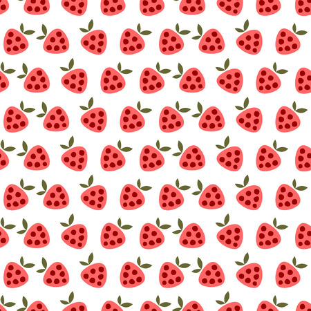 cartoom: Seamless vector pattern with fruits. Cute background with strawberries on the white backdrop. Series of Fruits and Vegetables Seamless Patterns. Illustration