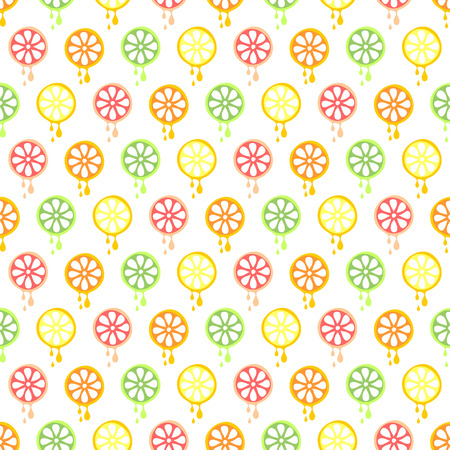 cartoom: Seamless vector pattern with fruits. Symmetrical background with limes, lemons, oranges and grapefruits on the white backdrop. Series of Fruits and Vegetables Seamless Patterns.