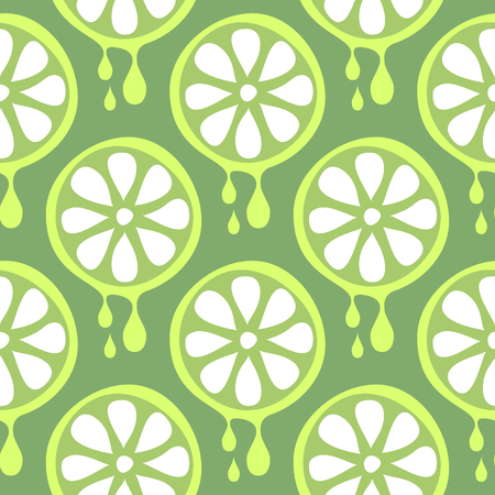 cartoom: Seamless vector pattern with fruits. Symmetrical background with closeup limes on the green backdrop. Series of Fruits and Vegetables Seamless Patterns.