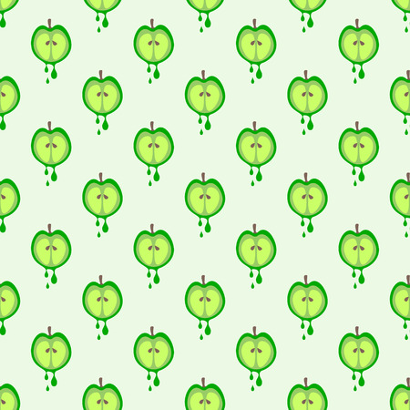 organic background: Seamless vector pattern with fruits. Symmetrical background with green apples. Series of Fruits and Vegetables Seamless Patterns. Illustration