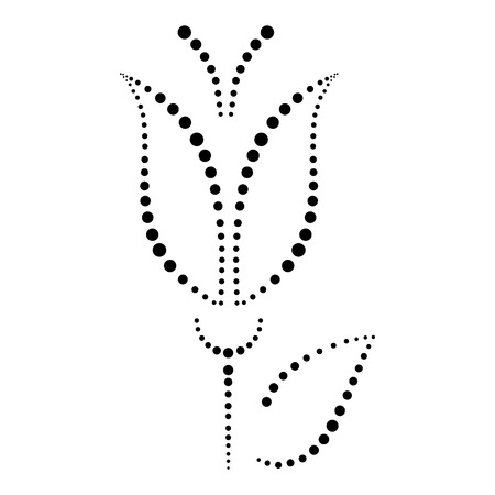 white lily: Vector floral illustration, decorative ornamental black and white  lily with leafe, isolated on the white background.