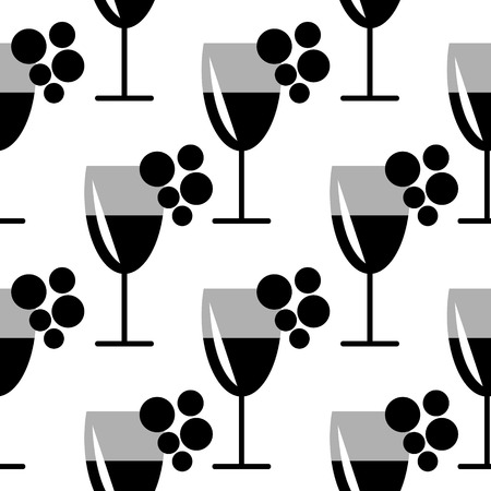 wineglasses: Seamless vector black and white pattern with closeup wineglasses with  wine and bunches of grape on the white background. Series of Food and Drink Seamless Patterns.