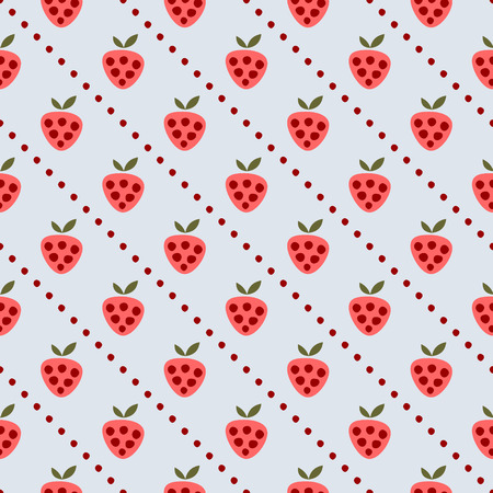 cartoom: Seamless vector pattern with fruits. Symmetrical background with strawberries on the blue backdrop. Series of Fruits and Vegetables Seamless Patterns.