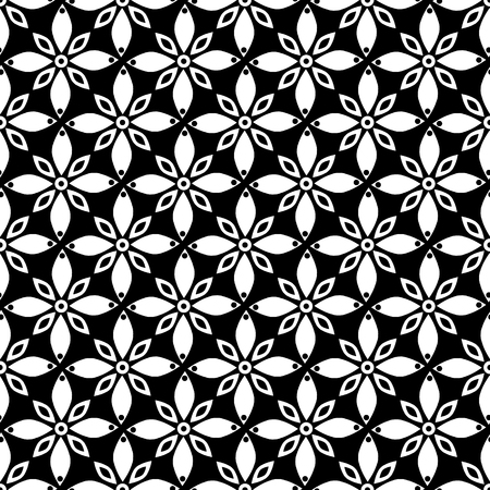 Seamless Vector Geometric Pattern With Flowers Black And White Classy Free Vector Geometric Patterns