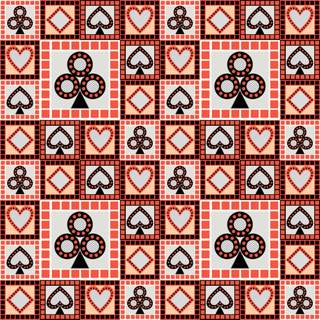 asymmetrical: Seamless vector pattern with icons of playing cards. Bright red and black asymmetrical geometric background. Decorative repeating ornament. Series of Gaming and Gambling Seamless Pattern Illustration