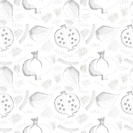 scribbles: Seamless vector gray pattern with hand drawn pomegranates, leaves and scribbles on the white background. Series of Cartoon, Doodle, Sketch and Scribble Seamless Patterns. Illustration
