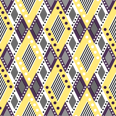 etno: Vector decorative ornamental geometric background with asymmetrical rhombus in yellow and violet colors. Series of Seamless Geometrical Ornamental Patterns. Illustration