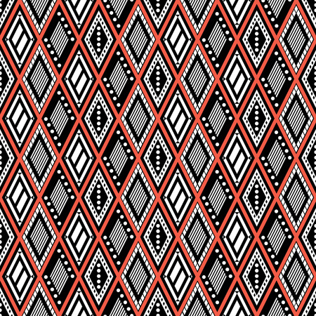 etno: Vector decorative ornamental geometric background with rhombus in black and red colors. Series of Seamless Geometrical Ornamental Patterns. Illustration