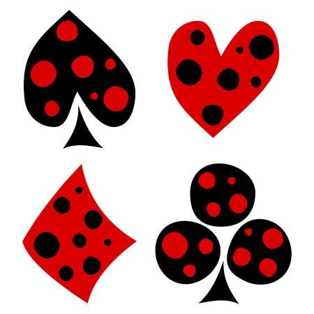 crooked: Vector set of playing card symbols. Hand drawn decorative black and red icons with dots isolated on the backgrounds. Graphic illustration