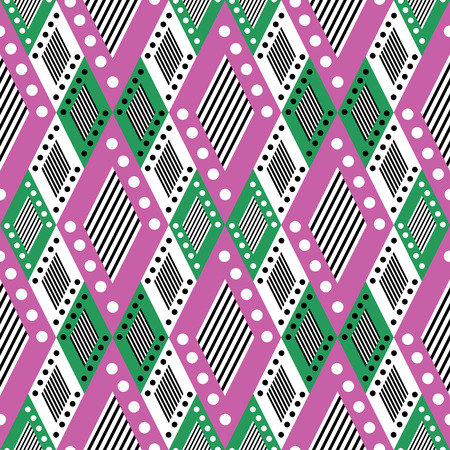 asymmetrical: Vector decorative ornamental geometric background with asymmetrical rhombus in pink and green colors. Series of Seamless Geometrical Ornamental Patterns.