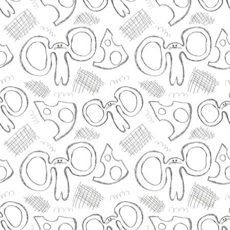 Seamless vector pattern. Cute black and white background with hand drawn mouses and cheese. Series of Cartoon, Doodle, Sketch and Scribble Seamless Vector Patterns.