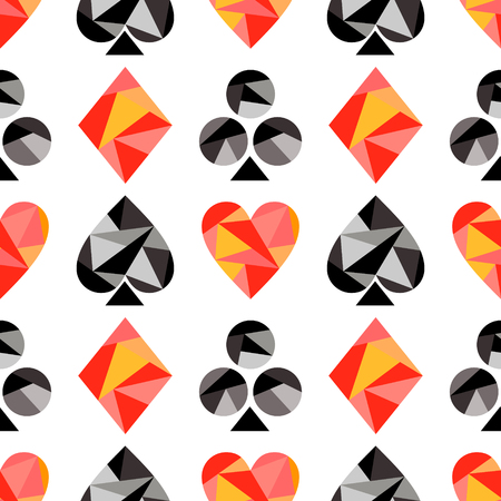 playing card symbols: Vector seamless pattern with black and red playing card symbols. Polygonal design. Geometric triangular origami style, graphic illustration. Series of Gaming and Gambling Seamless Patterns. Illustration