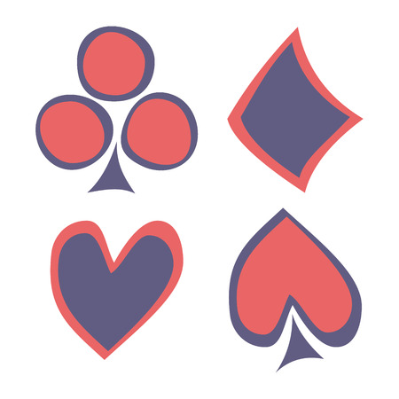 shilouette: Vector set of playing card symbols. Hand drawn blue and red icons isolated on the backgrounds. Graphic illustration