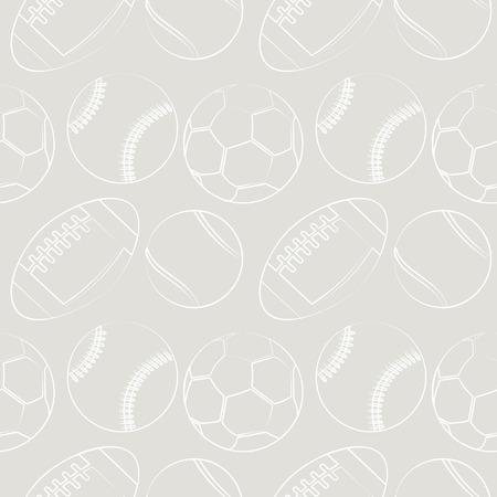 socer: Seamless vector pattern with sport equipment. Gray background with tennis balls, footballs, basketballs and socer balls. Series of  Sports Patterns. Illustration