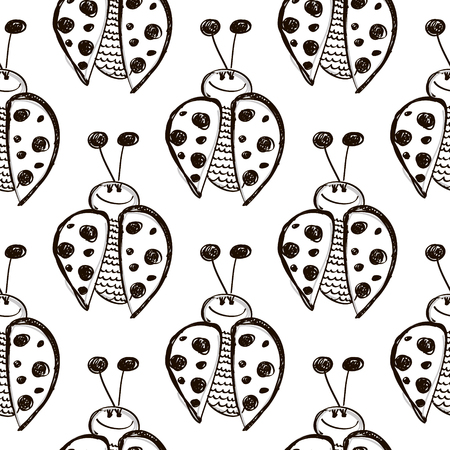 linework: Seamless vector pattern with insects. Cute hand drawn background with ladybugs on the white backdrop. Series of Cartoon, Doodle, Sketch Seamless Patterns.