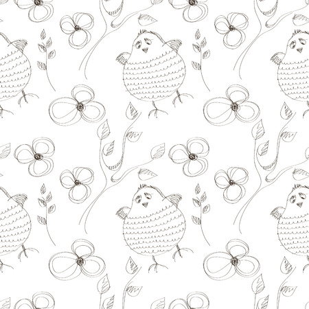 linework: Seamless vector pattern with animals. Cute hand drawn background with birds and flowers on the white backdrop. Series of Cartoon, Doodle, Sketch Seamless Patterns.